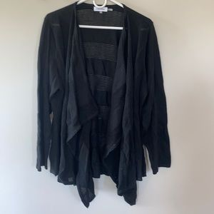 Open cardigan with open weave stripes